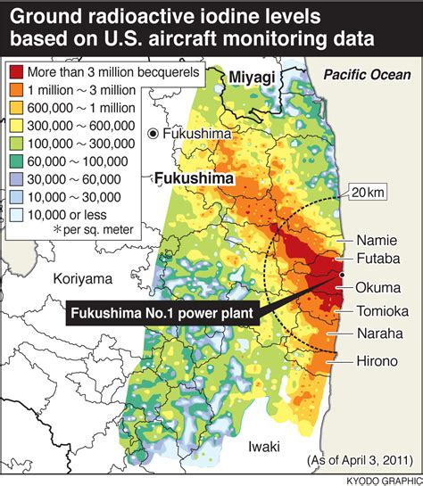 fukushima radiation map new map of radioactive iodine released from fukushima daiichi enformable