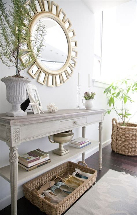 Ideas For Console Table With Baskets Design Mirror Cottage Entrance Foyer The Abode