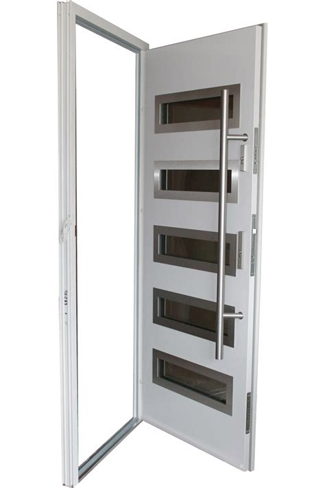 Quot Tokyo Quot Stainless Steel Modern Entry Door In White Finish Stainless Steel Exterior Door