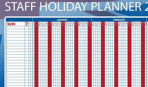 staff holiday planner 2016 calendar template 2016