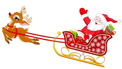 santa and reindeer with sled png clipart clipart best