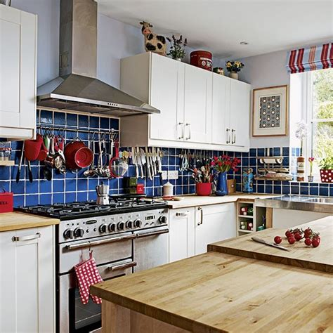 country kitchen tile ideas blue tiled country style kitchen decorating