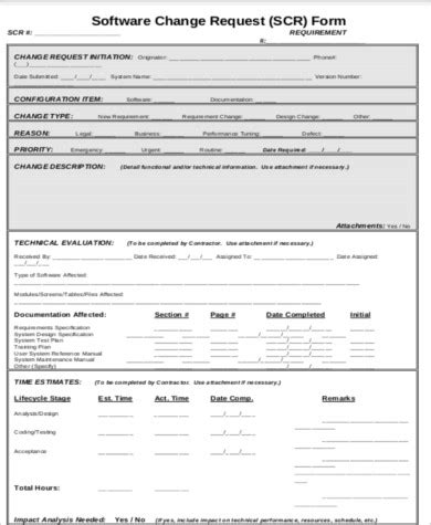 10 Sle Change Request Forms Sle Templates Software Development Request Form Template