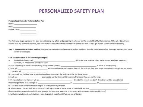 personal safety plan template bing images