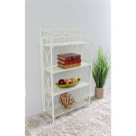 Folding Bakers Rack by Folding Bakers Rack In White 3522