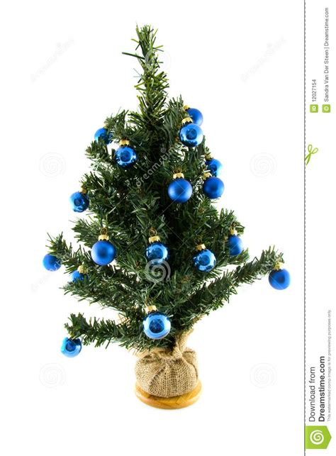plastic christmas tree with blue balls stock images