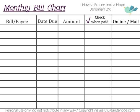 image gallery monthly bill organizer chart