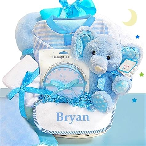 gifts for baby baby boy gift basket blue elephant personalized baby gifts