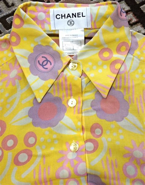 Blouse Chanel Flowers vintage chanel yellow pink orange etc floral print