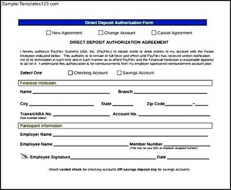 authorization letter format deposit direct deposit form template downloadable direct deposit
