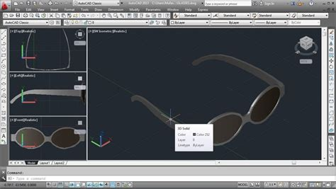tutorial autocad 3d autocad 3d glasses modeling tutorial freestyle youtube