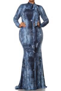 plus blue acid wash denim jean print mermaid maxi dress