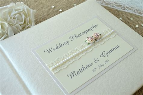 personalised wedding album uk personalised wedding photograph album lace design