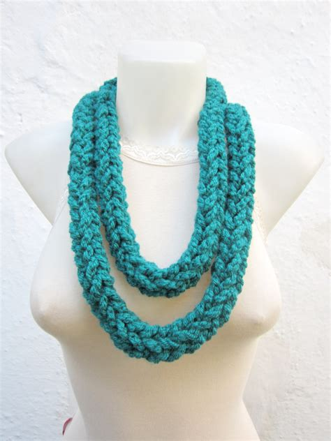 crochet scarf infinity finger knitting scarf teal by