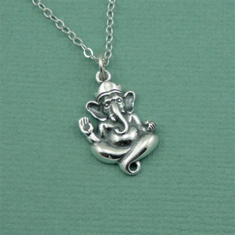 elephant ganesh necklace sterling silver ganesh jewelry