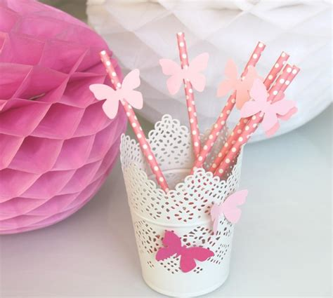 table decoration ideas summer party butterflies paper diy table decoration ideas summer pink drinking straws paper