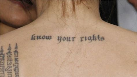angelina jolie tattoo know your rights font the deep meaning behind 12 of angelina jolie s ink ritely