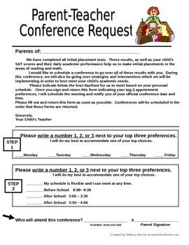 Parent Teacher Conference Request Form Letter To Send Home