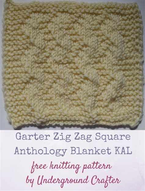 zig zag pattern on dog knitting pattern garter zig zag square underground crafter