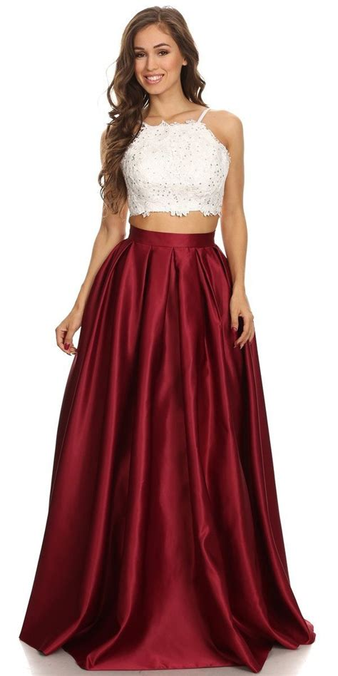 Two Piece Long Prom Dress Lace Crop Top and Satin Skirt Navy Blue ? DiscountDressShop