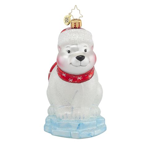 radko 1017812 polar paul polar bear on ice ornament