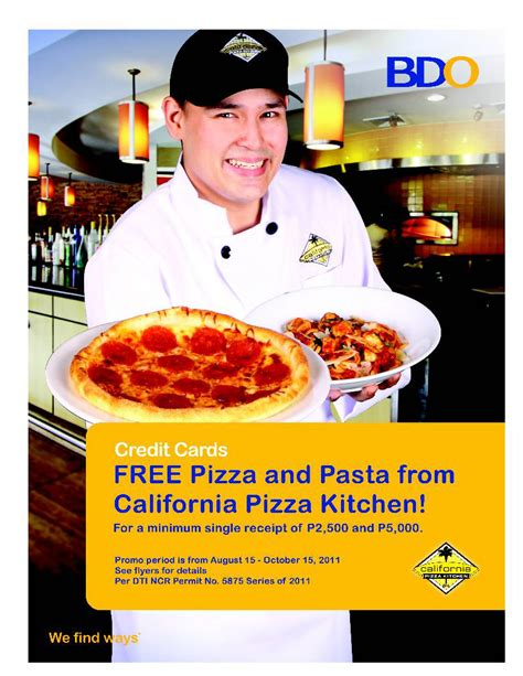 california pizza kitchen rewards manila california pizza kitchen treats from bdo credit cards