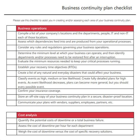 business continuity plan template for food manufacturing