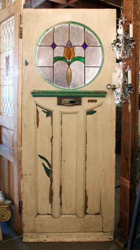 Antique Tudor Door With Round Stained Glass Window Early Stained Glass Door For Sale