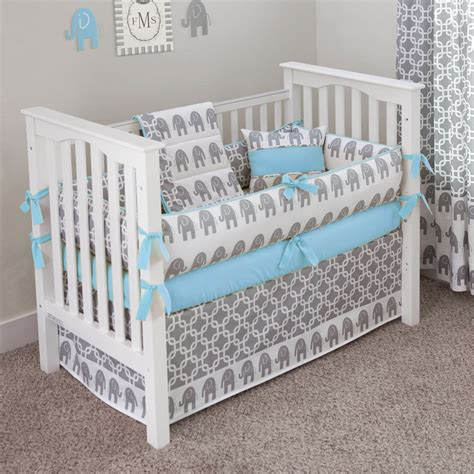 Custom Made Crib Mattress Designer Custom Made Elephants Blue 5pc Crib Bedding Set