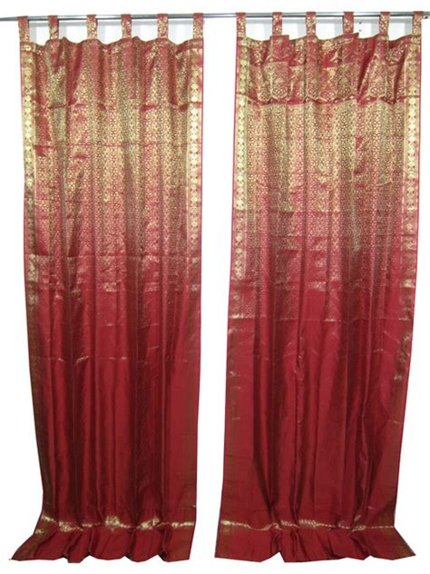 indian sari curtains 2 india sari curtains dark red brocade silk saree drapes