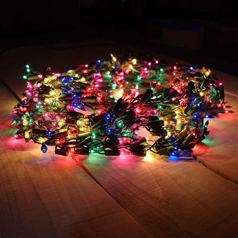 600 multi color cluster garland light set green wire