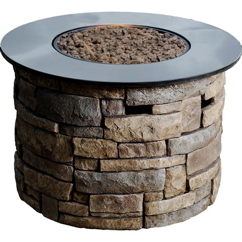 Propane Firepits Shop Allen Roth Ridge 36 6 In W 50 000 Btu Design Composite Propane Gas