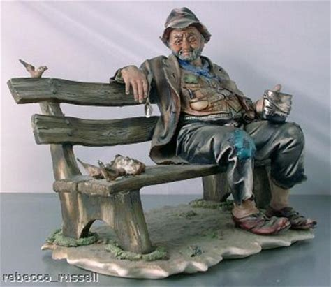 capodimonte man on bench c1950 lge capodimonte figurine tr on bench birds ebay