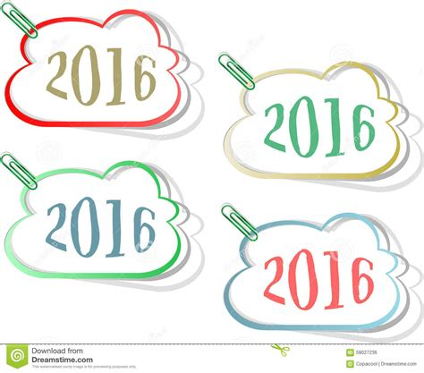 new year set design happy new year 2016 creative greeting card design stock