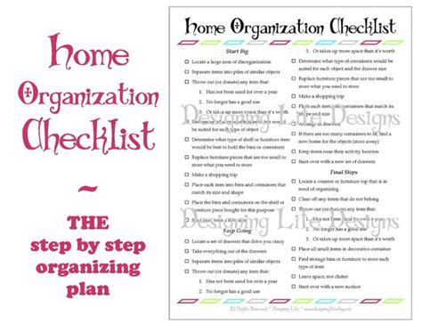 organize my house checklist home organization checklist pdf printable basic organizing