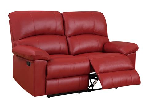 red recliner u99270 red pu reclining loveseat by global furniture