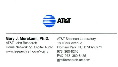 Att Gift Card - at t business cards gary j murakami