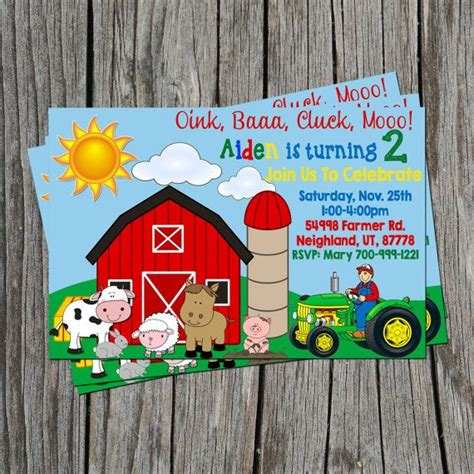 farm themed birthday invitations farm themed birthday party invitation personalized with