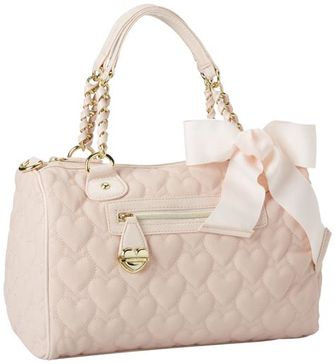 Betsey Johnson Handbag Quilted Satchel by Betsey Johnson Mine Yours Blush Pink Quilted Hearts