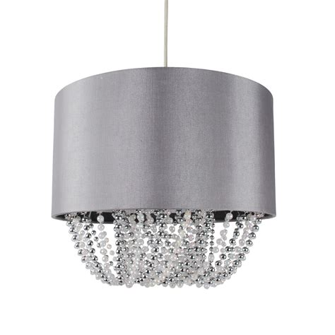 Modern Easy Fit Drum Shade Grey Fabric Ceiling Pendant Fabric Drum Shade Chandelier