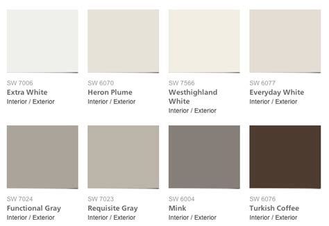 pottery barn colors pottery barn paint color collection for sherwin williams