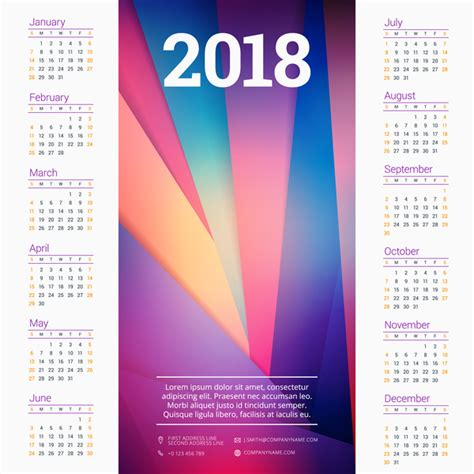 calendar background modern background with 2018 company calendar vectors