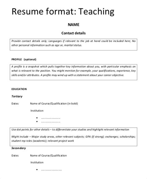 resume template for fresher teachers 8 teaching fresher resume templates pdf doc free