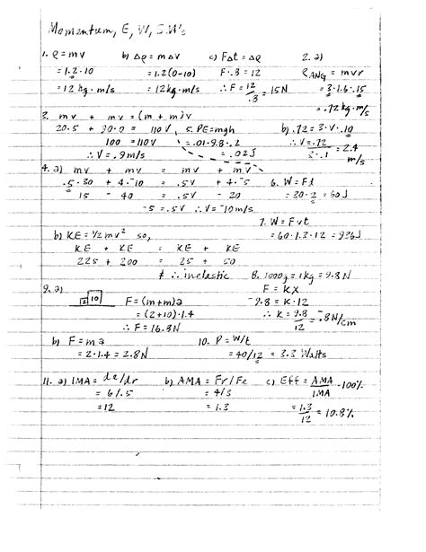 Basic Physics Worksheets by Work And Energy Power And Energy Simple Machines Notes