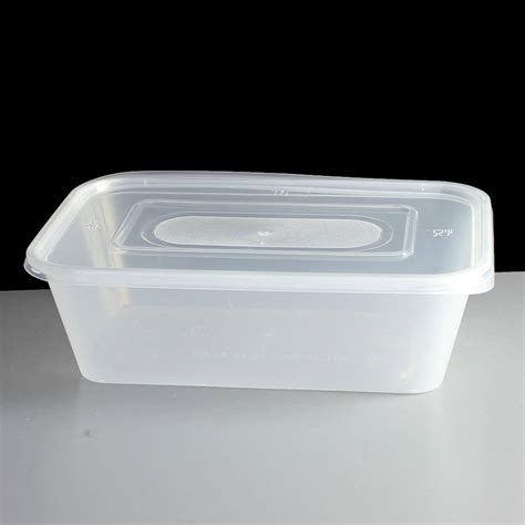 650cc clear rectangular plastic container and lid