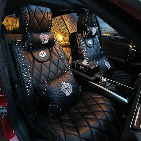 crown leather seat covers buy wholesale rivets car seat arms pillows embroidery