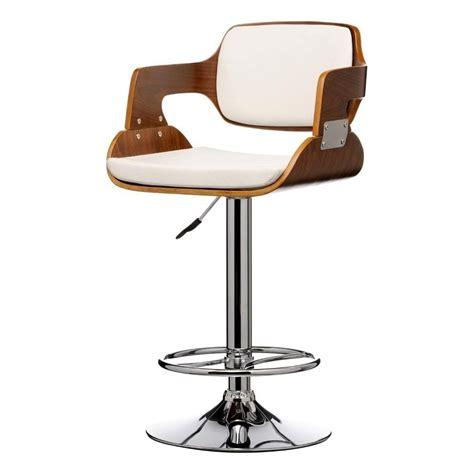 Retro Bar Stools Uk by Buy Walnut Wood And White Faux Leather Retro Bar Stool