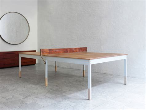 wooden and leather ping pong table fubiz media