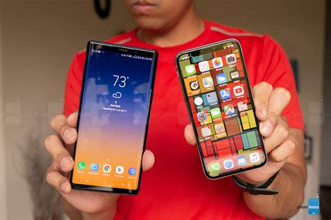 Samsung 9 Vs Iphone X Samsung Galaxy Note 9 Vs Apple Iphone X Phonearena