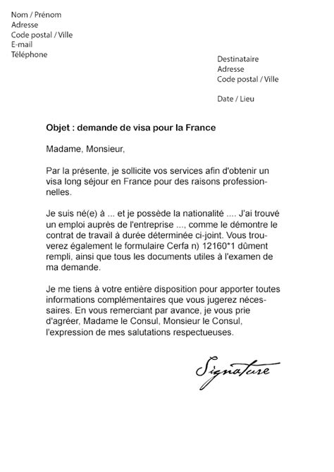 Lettre De Motivation Visa De Retour modele de courrier a un ambassadeur
